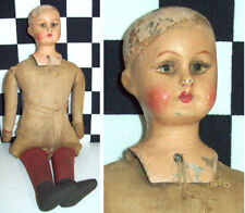 "9"" Antique Composition Head on Jointed Cloth Body Lady Doll 1900~"