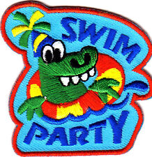 """SWIM PARTY""  - Iron On Embroidered Patch - Swimming, Sports, Words,Party, Fun"