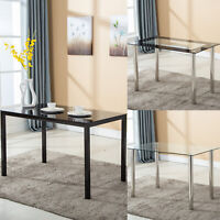 "47""/53""L Glass Dining Table w/Metal Legs Kitchen Breakfast Dining Room Furniture"