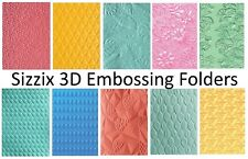 Sizzix Textured Impressions 3D EMBOSSING FOLDERS Collection A6 Size- You Choose!