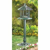 "Gazebo Bird Feeder on Pedestal Stand Verdigris Finish 39.8"" High"