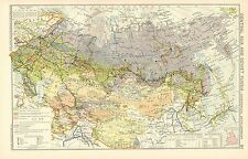 1928 MAP ~ CENTRAL ASIA & SOVIET RUSSIA COMMERCIAL DEVELOPMENT MINERLA WORKINGS
