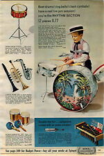 1965 AD Musical Instrument Drum Xylophone Bongo Horn Phonograph Astro-Sound