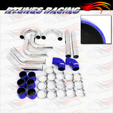 "BLUE 3"" Inches 76mm Turbo/Supercharger Intercooler Polish Pipe Piping Kit CH"