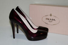Prada 9.5 / 39.5 Light Burgundy Patent Leather Platform Classic Pump Heel Shoes