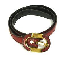 G94 Gürtel Leder bordeaux schmal Taillengürtel Etienne Aigner Vintage 75 cm