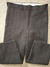 VTG Bemidji Woolen Mills 36 X 30 Gray Red Green Plaid Wool Heavy Hunting Pants