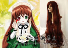 """Rozen Maiden Suiseiseki Long Brown Red Cosplay Curly Wig 100cm /39"""" Z754"""