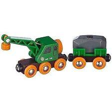 BRIO 33698 grüner Kranwagen mit Anhänger