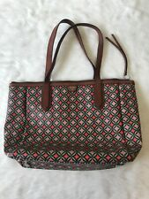 FOSSIL Coated Canvas Tote Purse Orange Green Graphic.