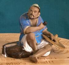 Un superbo CINESE-shiwan smaltata Ceramica Antica Agricoltori che dispongono di tubo Statua