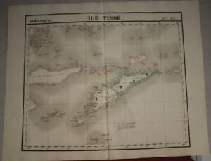 TIMOR 1827 VANDERMAELEN LARGE ANTIQUE ORIGINAL COLORED LITHOGRAPHIC MAP N° 28