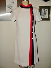 VINTAGE 60s JOYCE *WHITE BLUE RED STEWARDESS INSPIRED A-LINE SHEATH DRESS*S/M