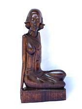 Pensive Balinese Lady Art Deco Period Bali Indonesian Art Sculpture Wood Carving