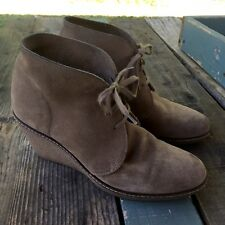 J. Crew MacAlister Women's 9 Desert Tan Suede Lace Up Wedge Heel Ankle Boots