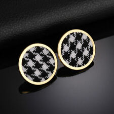Lovely Gold Black and White Hounds Tooth Pattern Stud Statement Earrings