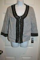 INC Macys Embellished Blazer Jacket 3/4 Sleeve Open Front Black White Stripe NEW