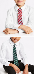 3 PACK Ex M&S Boys Regular Fit School Shirt Short & Long Sleeve Ages 3-16 White