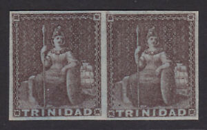 Trinidad. 1851. SG 6, 1d bluish grey pair. Full margins. Fine mounted mint.