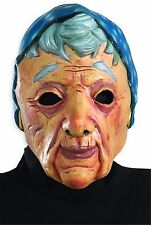 Latex Old Lady Mask & Wig Grandma Woman Head Costume Wrinkled Skin Adult Granny