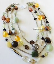 "Lia Sophia ""Chamomile"" Genuine Jade, Mother of Pearl & Onyx Necklace"
