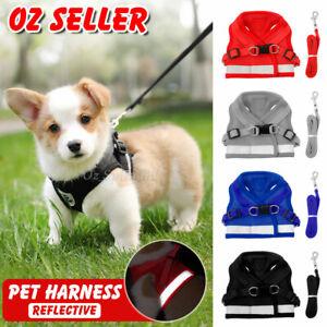 Reflective Dog Cat Pet Harness Leash Puppy Soft Adjustable  Vest Mesh Clothes AU