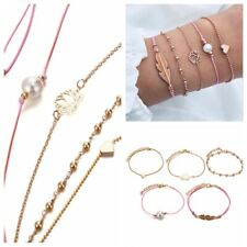 5Pcs Fashion Lotus Heart Leaf Pearl Women Retro Chain Bangle Bracelet Jewelry