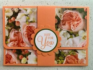 Handmade gift card holder Mother's Day/For you/birthday options. Orange floral