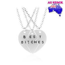 Best Bitches 3 In 1 Love Heart Polished Gold/Silver Tone Pendant Necklace Friend
