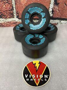 NOS Vision Shredder 3 Black Vintage Skateboard Wheels 1980's Gator 61 3/4mm 95A
