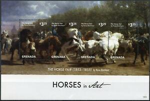 Grenada Stamps 2015 MNH Horses in Art Horse Fair by Rosa Bonheur 4v M/S I
