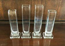 Set of 4 Glass Clear Glass Rectangular Vases