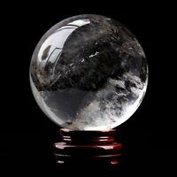 Natural White Clear Quartz Crystal Sphere Ball Healing Stone Reiki Decorations