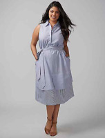Lane Bryant Belted Shirtdress Plus 16 22 24 26 28 Blue/White Sleeveless 1x 3x 4x