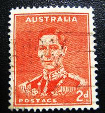 1937 Australian King George VI 2d scarlet postage stamp