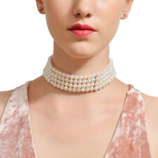 Women Fashion Simulated Pearls Chokers Necklace Jewelry Multilayer Beads Chain