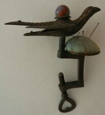 Antique Victorian Brass Song Bird Sewing Clamp Pin Cushion Feb 1853 BX2-803