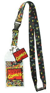 """Marvel Comics Page ID Lanyard Badge Holder With 1.5"""" Rubber Charm Pendant"""