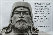 inspirational quote poster GENGHIS KHAN historic WORLD CONQUEROR 24X36 new