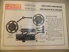 Instructions cine film projecteur eumig mark s 802 & 802D-cd/e-mail