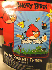 "ANGRY BIRDS 50"" X 60"" MICRO RASCHEL SUPER SOFT FLEECE THROW, NEW FREE SHIPPING"