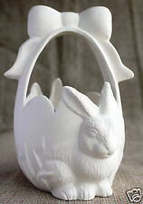 Ceramic Bisque Small Rabbit Egg Basket Boothe Mold 997 U-Paint Ready To Paint