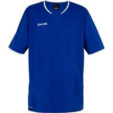 Spalding Basketball Mens Short Sleeve SS Crew Neck Shirt Jersey Top Blue White