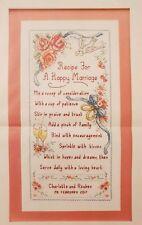 'MARRIAGE RECIPE SAMPLER' CROSS STITCH CHART BY SUSAN BATES (C50)