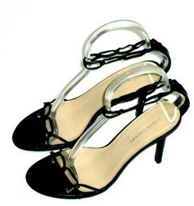 Colin Stuart Victorias Secret Sandals Womens Sz 7.5M Black Leather Back Zip