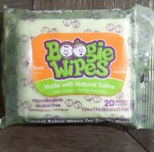 Boogie Wipes Wet Saline Nose Wipes set of 4 - Fresh Scent - 20 wipes in each