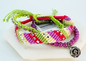 Womens Boho Bracelet Multi Layer Beads Rose Charm Rhinestone Wrist Bangle Green