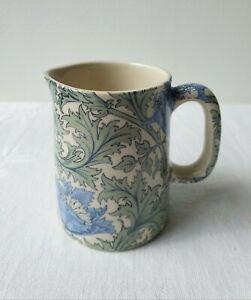 Lovely Small Blue & Green Ceramic Heron Cross Milk / Cream Jug