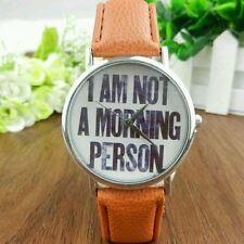 Luxury Letters Women Men Leather Band Analog Quartz Dial Wrist Watch Bracelet