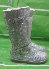 US TODDLER Size 9   new Silver Rhinestone Mid-Calf Boot Fur Top/Inside Buckles